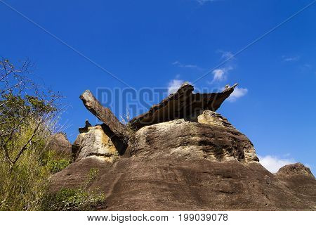 Stone forest and blue sky at Phu Pha thoep National Park Mukdahan county of Thailand