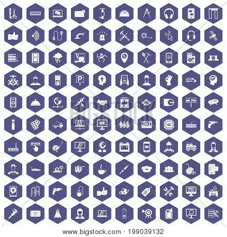 100 support center icons set in purple hexagon isolated vector illustration