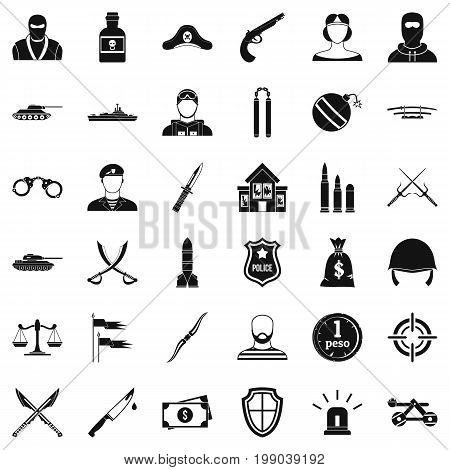 Police weapon icons set. Simple style of 36 police weapon vector icons for web isolated on white background