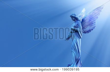 Magical angel in heaven inspiration from God with divine rays of sun light
