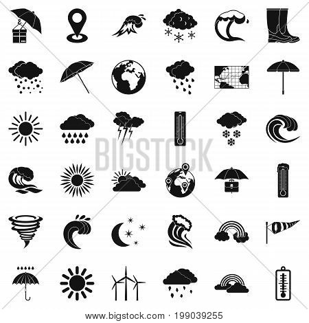 Cold weather icons set. Simple style of 36 cold weather vector icons for web isolated on white background