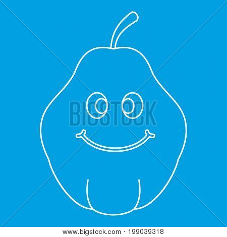 Smiling quince fruit icon blue outline style isolated vector illustration. Thin line sign
