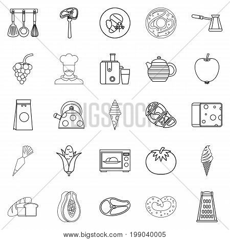 Dining room icons set. Outline set of 25 dining room vector icons for web isolated on white background