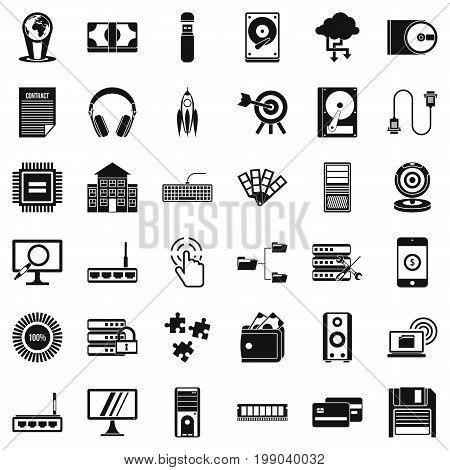 Web extension icons set. Simple style of 36 web extension vector icons for web isolated on white background