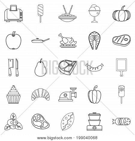 Canteen icons set. Outline set of 25 canteen vector icons for web isolated on white background