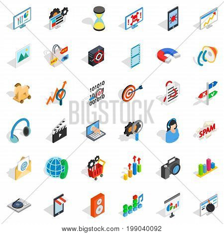 Web extension icons set. Isometric style of 36 web extension vector icons for web isolated on white background