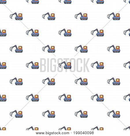 Excavator pattern in cartoon style. Seamless pattern vector illustration