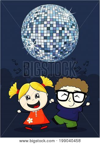 cartoon illustration of cute little children dancing with disco ball on top