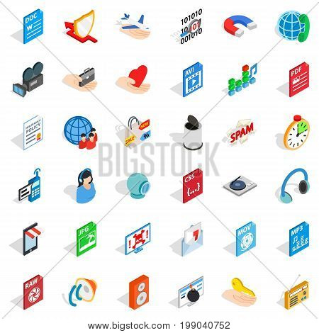 Web camera icons set. isometric style of 36 web camera vector icons for web isolated on white background