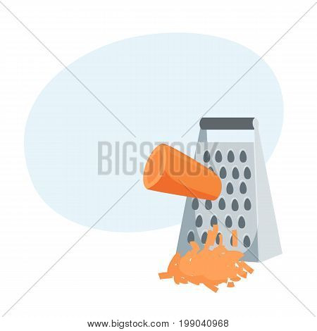 Grated carrot. Cooking process vector illustration. Kitchenware and cooking utensils isolated on white.