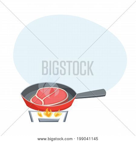 Fry the meat steak in a frying pan. Cooking process vector illustration. Kitchenware and cooking utensils isolated on white.