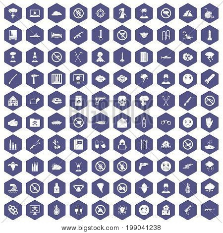 100 tension icons set in purple hexagon isolated vector illustration