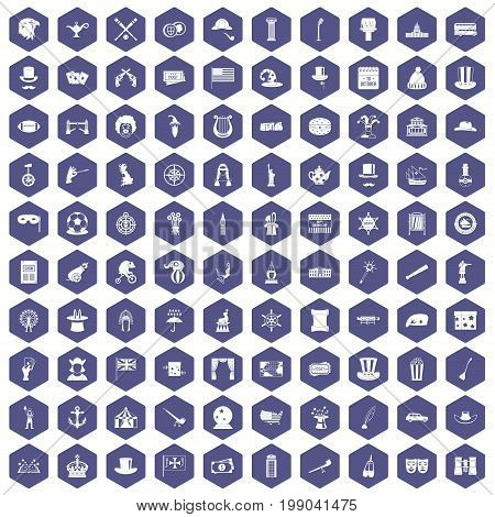 100 top hat icons set in purple hexagon isolated vector illustration