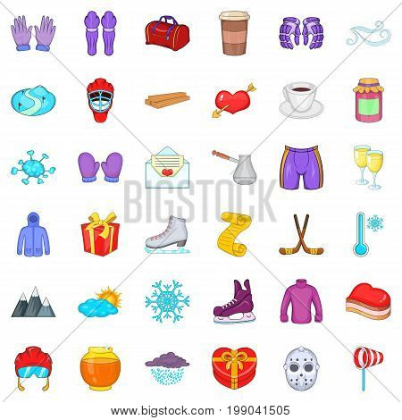 Winter glove icons set. Cartoon style of 36 winter glove vector icons for web isolated on white background