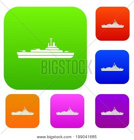 Warship set icon in different colors isolated vector illustration. Premium collection