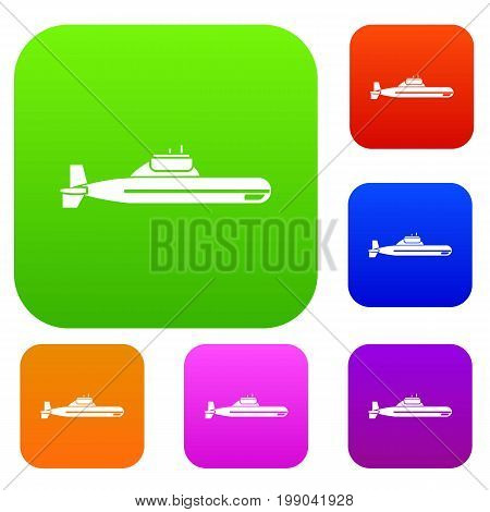 Submarine set icon in different colors isolated vector illustration. Premium collection