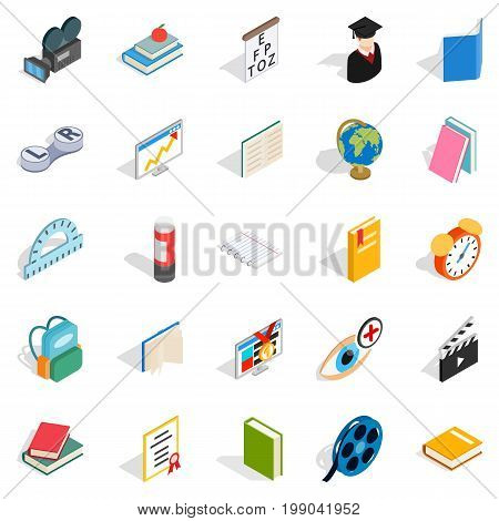 Knowledge icons set. Isometric set of 25 knowledge vector icons for web isolated on white background