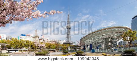 NAGOYA JAPAN - 12 April, 2016:Oasis 21 and TV Tower in Sakae. Oasis 21 is a modern facility located adjacent to Nagoya TV Tower in Sakae.They are public location no restrict in copy or use
