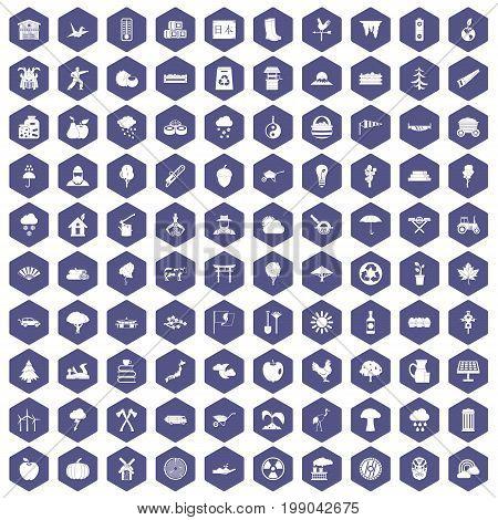 100 tree icons set in purple hexagon isolated vector illustration