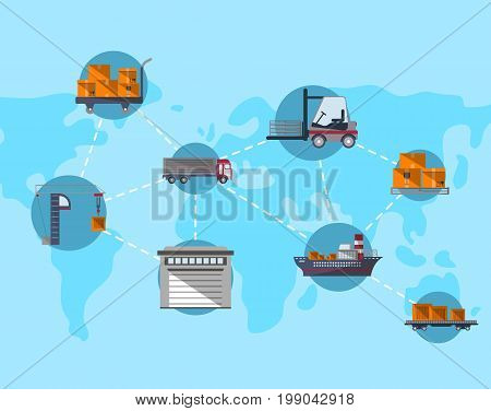Logistics and worldwide shipping concept. Commercial air, road, marine and railway transportation banner with global map. World freight shipping and cargo delivery, postal service vector illustration
