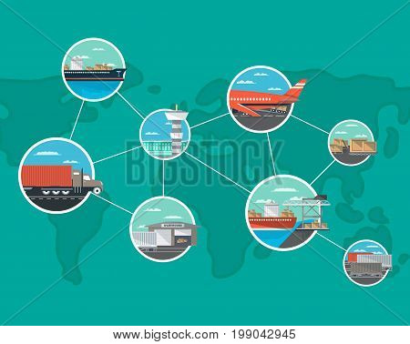 International shipping and logistics concept. World freight shipping and cargo delivery, postal service vector illustration. Commercial air, road, marine, railway transportation banner with global map