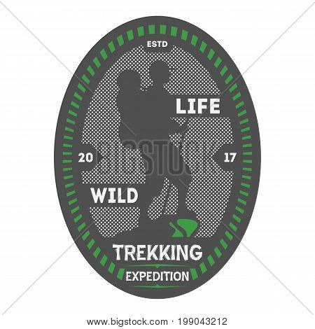 Wildlife trekking vintage isolated badge. Summer camp symbol, mountain explorer, touristic camping label, nature expedition vector illustration.