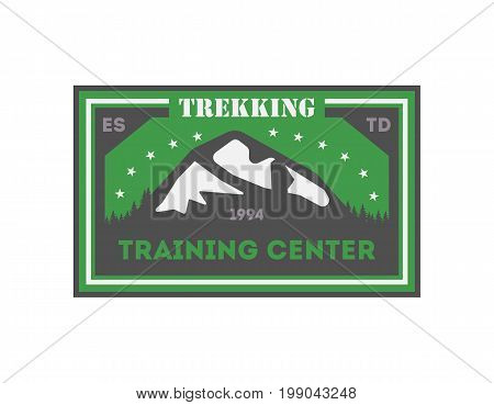 Trekking training centre vintage isolated badge. Summer camp symbol, mountain explorer, touristic camping label, nature expedition, wildlife travel vector illustration.