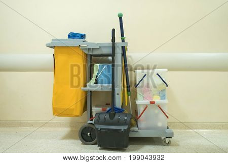 Professional cleaning cart in the hospital. clean