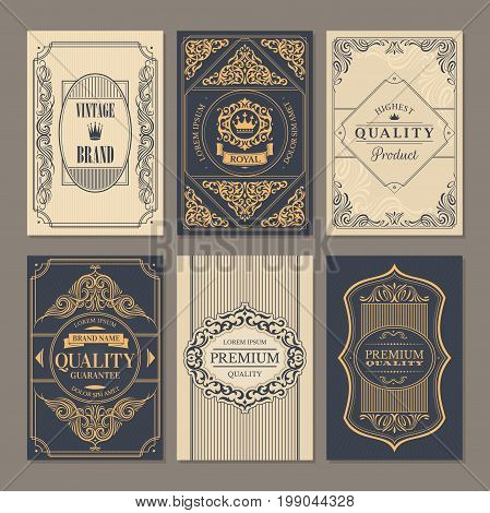 Calligraphic vintage floral cards collection vector illustration
