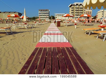 Footpath on the beach in Rimini Italy