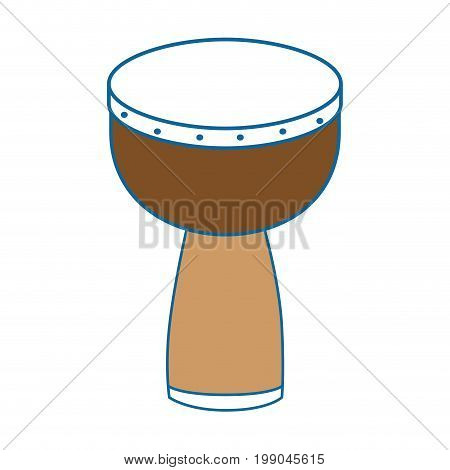 Djembe Drum instrument icon over white background vector illustration