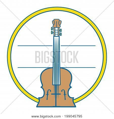 decorative frame in circle shape with fiddle instrument icon over white background vector illustration