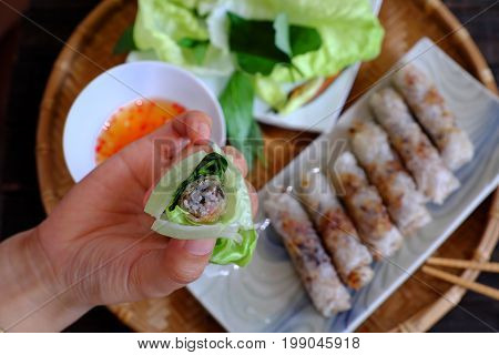 Eating Spring Roll Pastry