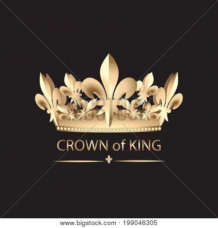 CROWN OF KING. Emblem. Abstract luxury, royal golden company logo icon vector design. Elegant crown, tiara, diadem premium symbol.