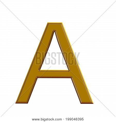 Letter A from gold solid alphabet on white background. 3D letter A. 3d gold text A.