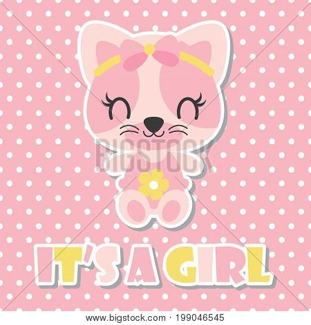 Cute baby kitten as baby girl on polka dot background vector cartoon illustration for baby shower card design, kid t shirt design, and wallpaper
