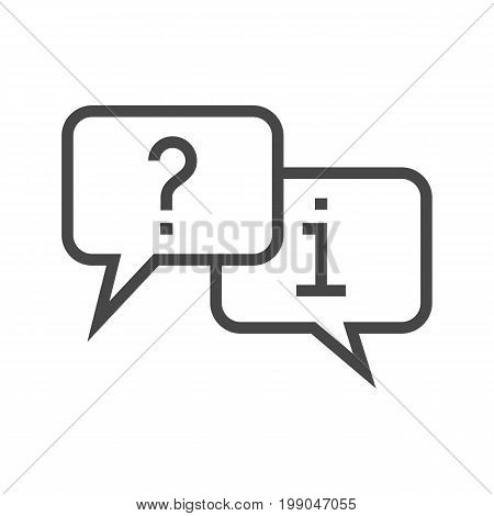 Question and Answer Mark in Speech Bubble Thin Line Vector Icon. Flat icon isolated on the white background. Editable EPS file. Vector illustration.
