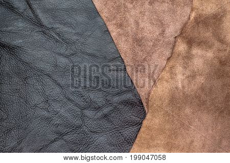 Close up fold dark brown crumpled leather texture backgroundfabrics Division. poster