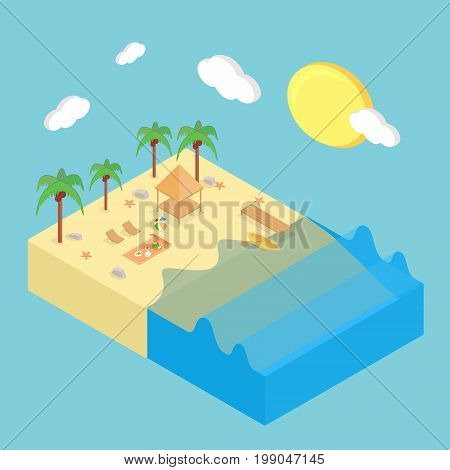 Isometric Summer Conceptual Design | Isomatric Design with hight quality vector | Use for business, marketing, concept and much more. The set can be used for several purposes like: websites, print templates, presentation templates, and promotional materia