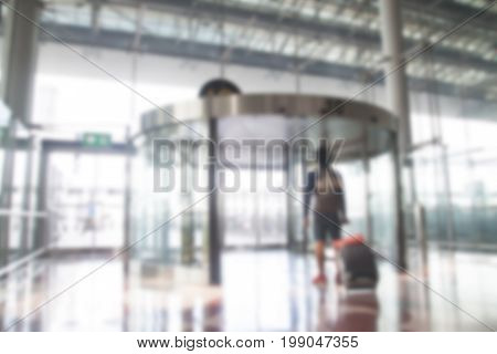 BANGKOK THAILAND - AUGUST 8 2017. Blurred background of the passenger walking out the gate in line G terminal of the Bangkok airport. Suvarnabhumi airport is world's 4th largest single-building airport terminal.