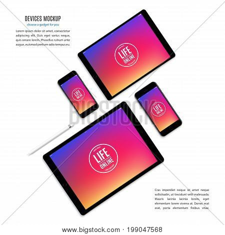 mockup devices: smartphones and tablets with colorful screen isolated on white background. stock vector illustration eps10