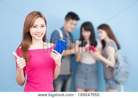 student use phone on the blue background