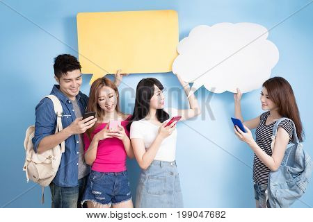 student use phone with speech bubble on the blue background