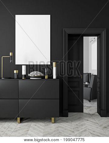 Classic, modern, scandinavian style black color interior mock up with vases, dresser, consoe, door, lamp, frame, wooden floor. 3d render illustration.