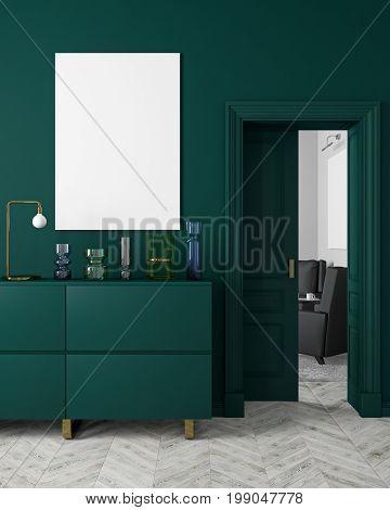 Classic, modern, scandinavian style dark-green color interior mock up with vases, dresser, consoe, door, lamp, frame, wooden floor. 3d render illustration.