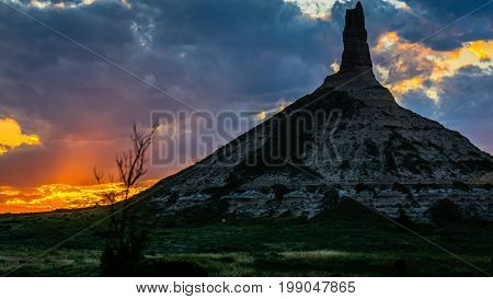 Chimney Rock National Historic Site at dusk with rock detail in Nebraska
