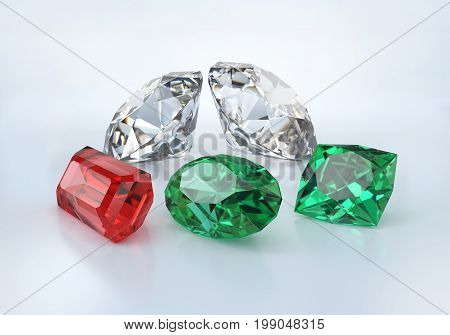 Precious stones on a light background. 3d image. Light background.