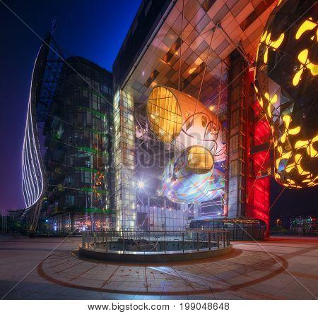 SHANGHAI CITY, SHANGHAI: APRIL 16, 2017: Chinese cityscape of Shanghai's city on the Huangpu River bay, Shanghai, China.