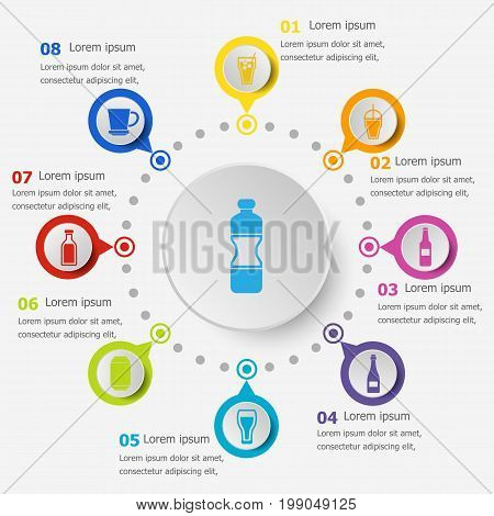 Infographic template with drink icons, stock vector