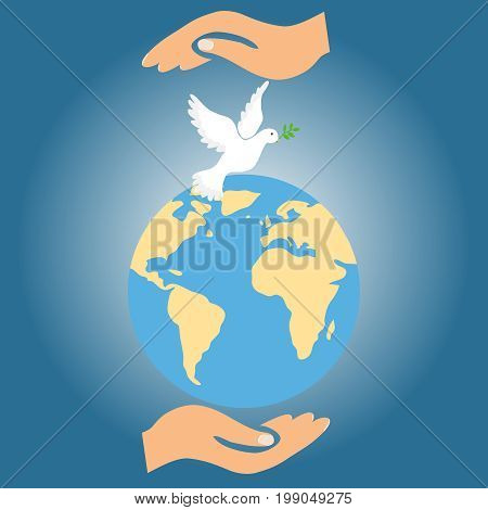 Two hands hold the Earth together with the dove of peace. Flat design vector illustration vector.